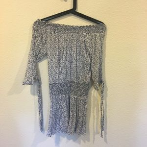 Honey Punch Dresses - Honey Punch blue floral drop waist dress